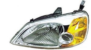 2001-2003 Honda Civic Headlight Assembly (Sedan / Includes Side Marker/Park/Signal Lamps / without Bulbs or Sockets) - Left (Driver)