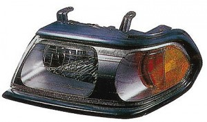 2000-2004 Mitsubishi Montero Sport Headlight Assembly (with Flat Black Bezel) - Left (Driver)
