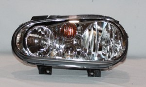 1999-2002 Volkswagen Golf / GTI / GTA Headlight Assembly (Type 4 / without Fog Lamps / with Bright Bezel Lens)- Left (Driver)