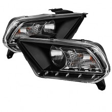 2010-2012 Ford Mustang ( Non HID ) DRL LED Crystal HeadLights (PAIR) - Black (Spyder Auto)