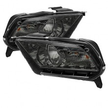 2010-2012 Ford Mustang ( Non HID ) DRL LED Crystal HeadLights (PAIR) - Smoke (Spyder Auto)