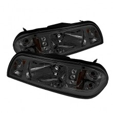 1987-1993 Ford Mustang 1PC LED ( Replaceable LEDs ) Crystal HeadLights (PAIR) - Black (Spyder Auto)
