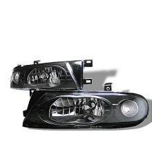 1993-1997 Nissan Altima Crystal HeadLights (PAIR) - Black (Spyder Auto)