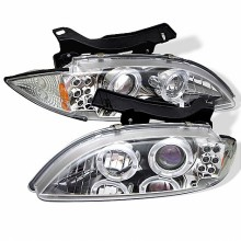 1995-1999 Chevy Cavalier Projector HeadLights (PAIR) - LED Halo - replaceanle LEDs - Chrome - High H1 (Included) - Low H1 (Included) (Spyder Auto)