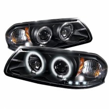 2000-2005 Chevy Impala Projector HeadLights (PAIR) - CCFL Halo - LED ( Replaceable LEDs ) - Black - High H1 (Included) - Low H1 (Included) (Spyder Auto)