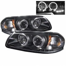 2000-2005 Chevy Impala Projector HeadLights (PAIR) - LED Halo - LED ( Replaceable LEDs ) - Black - High H1 (Included) - Low H1 (Included) (Spyder Auto)