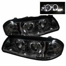 2000-2005 Chevy Impala Projector HeadLights (PAIR) - LED Halo - LED ( Replaceable LEDs ) - Smoke - High H1 (Included) - Low H1 (Included) (Spyder Auto)