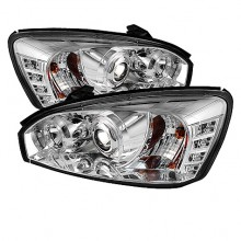 2004-2007 Chevy Malibu Projector HeadLights (PAIR) - LED Halo - LED ( Replaceable LEDs ) - Chrome - High H1 (Included) - Low H1 (Included) (Spyder Auto)
