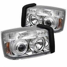 2005-2007 Dodge Dakota Projector HeadLights (PAIR) - LED Halo - Chrome - High H1 (Included) - Low H1 (Included) (Spyder Auto)
