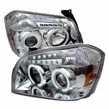 2005-2007 Dodge Magnum Projector HeadLights (PAIR) - CCFL Halo - LED ( Replaceable LEDs ) - Chrome - High H1 (Included) - Low 9006 (Not Included) (Spyder Auto)