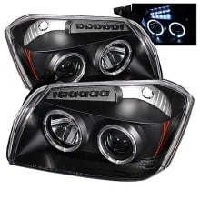2005-2007 Dodge Magnum Projector HeadLights (PAIR) - LED Halo - LED ( Replaceable LEDs ) - Black - High H1 (Included) - Low 9006 (Not Included) (Spyder Auto)