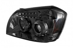 2005-2007 Dodge Magnum Projector HeadLights (PAIR) - LED Halo - LED ( Replaceable LEDs ) - Smoke - High H1 (Included) - Low 9006 (Not Included) (Spyder Auto)