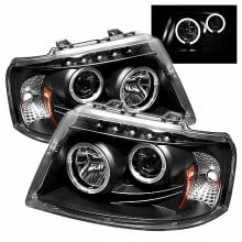 2003-2006 Ford Expedition Projector HeadLights (PAIR) - LED Halo - LED ( Replaceable LEDs ) - Black - High H1 (Included) - Low 9006 (Not Included) (Spyder Auto)