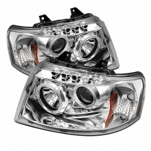 2003-2006 Ford Expedition Projector HeadLights (PAIR) - LED Halo - LED ( Replaceable LEDs ) - Chrome - High H1 (Included) - Low 9006 (Not Included) (Spyder Auto)