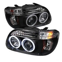 1995-2001 Ford Explorer 1PC Projector HeadLights (PAIR) - CCFL Halo - Black - High H1 (Included) - Low H1 (Included) (Spyder Auto)