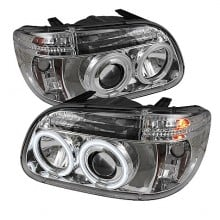1995-2001 Ford Explorer 1PC Projector HeadLights (PAIR) - CCFL Halo - Chrome - High H1 (Included) - Low H1 (Included) (Spyder Auto)