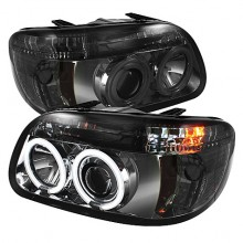 1995-2001 Ford Explorer 1PC Projector HeadLights (PAIR) - CCFL Halo - Smoke - High H1 (Included) - Low H1 (Included) (Spyder Auto)