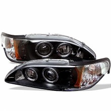 1994-1998 Ford Mustang 1PC Projector HeadLights (PAIR) - LED Halo - Amber Reflector - LED ( Replaceable LEDs ) - Black - High H1 (Included) - Low H1 (Included) (Spyder Auto)