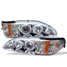1994-1998 Ford Mustang 1PC Projector HeadLights (PAIR) - LED Halo - Amber Reflector - LED ( Replaceable LEDs ) - Chrome - High H1 (Included) - Low H1 (Included) (Spyder Auto)