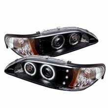 1994-1998 Ford Mustang 1PC Projector HeadLights (PAIR) - CCFL Halo - Amber Reflector - LED ( Replaceable LEDs ) - Black - High H1 (Included) - Low H1 (Included) (Spyder Auto)