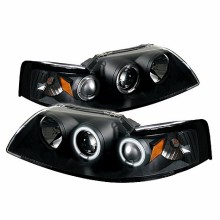 1999-2004 Ford Mustang Projector HeadLights (PAIR) - CCFL Halo - Black - High H1 (Included) - Low H1 (Included) (Spyder Auto)