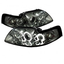 1999-2004 Ford Mustang Projector HeadLights (PAIR) - CCFL Halo - Smoke - High H1 (Included) - Low H1 (Included) (Spyder Auto)
