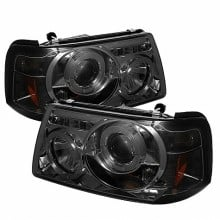 2001-2011 Ford Ranger 1PC Projector HeadLights (PAIR) - LED Halo - LED ( Replaceable LEDs ) - Smoke - High H1 (Included) - Low H1 (Included) (Spyder Auto)