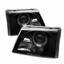1998-2000 Ford Ranger Projector HeadLights (PAIR) - LED Halo - Black - High 9005 (Included) - Low H1 (Included) (Spyder Auto)
