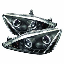 2003-2007 Honda Accord Projector HeadLights (PAIR) - LED Halo - Amber Reflector - LED ( Replaceable LEDs ) - High H1 (Included) - Low H1 (Included) (Spyder Auto)