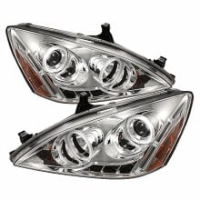 2003-2007 Honda Accord Projector HeadLights (PAIR) - CCFL Halo - LED ( Replaceable LEDs ) - Chrome - High H1 (Included) - Low H1 (Included) (Spyder Auto)