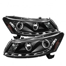 2008-2012 Honda Accord 4Dr Projector HeadLights (PAIR) - DRL - Black - High H1 (Included) - Low H1 (Included) (Spyder Auto)