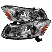 2008-2012 Honda Accord 4Dr Projector HeadLights (PAIR) - DRL - Chrome - High H1 (Included) - Low H1 (Included) (Spyder Auto)