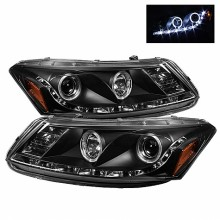2008-2012 Honda Accord 4Dr Projector Headlights- LED Halo - DRL - Black - High H1 (Included) - Low H1 (Included) (Spyder Auto)