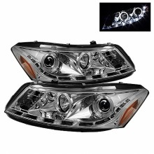 2008-2012 Honda Accord 4Dr Projector Headlights- LED Halo - DRL - Chrome - High H1 (Included) - Low H1 (Included) (Spyder Auto)