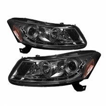 2008-2012 Honda Accord 4Dr Projector Headlights- LED Halo - DRL - Smoke - High H1 (Included) - Low H1 (Included) (Spyder Auto)