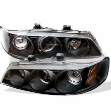 1994-1997 Honda Accord 1PC Projector HeadLights (PAIR) - LED Halo - Amber Reflector - Black - High H1 (Included) - Low H1 (Included) (Spyder Auto)
