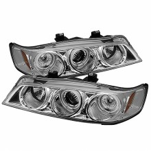 1994-1997 Honda Accord 1PC Projector HeadLights (PAIR) - CCFL Halo - Chrome - High H1 (Included) - Low H1 (Included) (Spyder Auto)