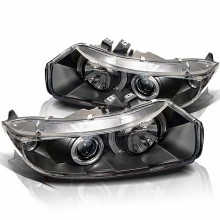 2006-2008 Honda Civic 2Dr Projector HeadLights (PAIR) - LED Halo - Black - High H1 (Included) - Low H1 (Included) (Spyder Auto)
