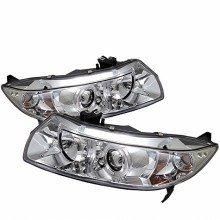 2006-2008 Honda Civic 2Dr Projector HeadLights (PAIR) - LED Halo - Chrome - High H1 (Included) - Low H1 (Included) (Spyder Auto)