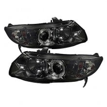 2006-2008 Honda Civic 2Dr Projector HeadLights (PAIR) - LED Halo - Smoke - High H1 (Included) - Low H1 (Included) (Spyder Auto)