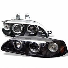 1992-1995 Honda Civic 4Dr 1PC Projector HeadLights (PAIR) - LED Halo - Amber Reflector - Black - High H1 (Included) - Low H1 (Included) (Spyder Auto)