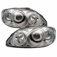 1999-2000 Honda Civic Projector HeadLights (PAIR) - LED Halo - Chrome - High H1 (Included) - Low H1 (Included) (Spyder Auto)
