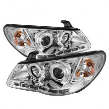 2007-2010 Hyundai Elantra Projector HeadLights (PAIR) - LED Halo - DRL - Chrome - High H1 (Included) - Low H7 (Included) (Spyder Auto)