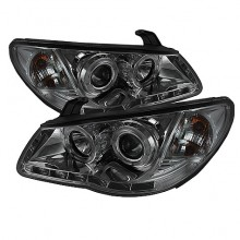 2007-2010 Hyundai Elantra Projector HeadLights (PAIR) - LED Halo - DRL - Smoke - High H1 (Included) - Low H7 (Included) (Spyder Auto)