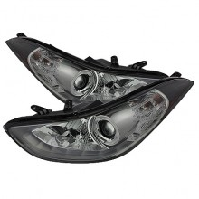 2011-2013 Hyundai Elantra Projector HeadLights (PAIR) - LED Halo - DRL - Smoke - High H1 (Included) - Low H7 (Included) (Spyder Auto)