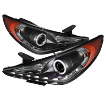 2011-2013 Hyundai Sonata Projector HeadLights (PAIR) - CCFL Halo - DRL - Black - High H7 (Included) - Low H7 (Included) (Spyder Auto)