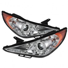 2011-2013 Hyundai Sonata Projector HeadLights (PAIR) - LED Halo - DRL - Chrome - High H7 (Included) - Low H7 (Included) (Spyder Auto)