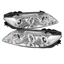 2003-2005 Mazda 6 With Fog Lights (PAIR) Projector Headlights - CCFL Halo - DRL - Chrome - High H1 (Included) - Low H1 (Included) (Spyder Auto)