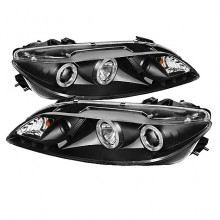 2003-2005 Mazda 6 With Fog Lights (PAIR) Projector Headlights - LED Halo - DRL - Black - High H1 (Included) - Low H1 (Included) (Spyder Auto)