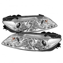 2003-2005 Mazda 6 With Fog Lights (PAIR) Projector Headlights - LED Halo - DRL - Chrome - High H1 (Included) - Low H1 (Included) (Spyder Auto)